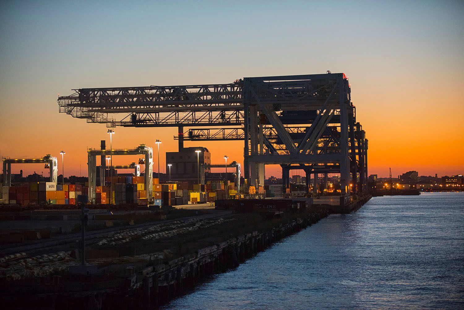 Conley Container Terminal at sunset