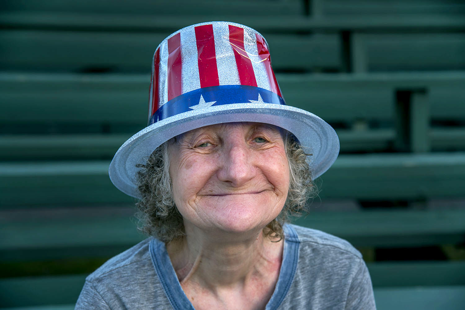 Woman with American Flag Hat