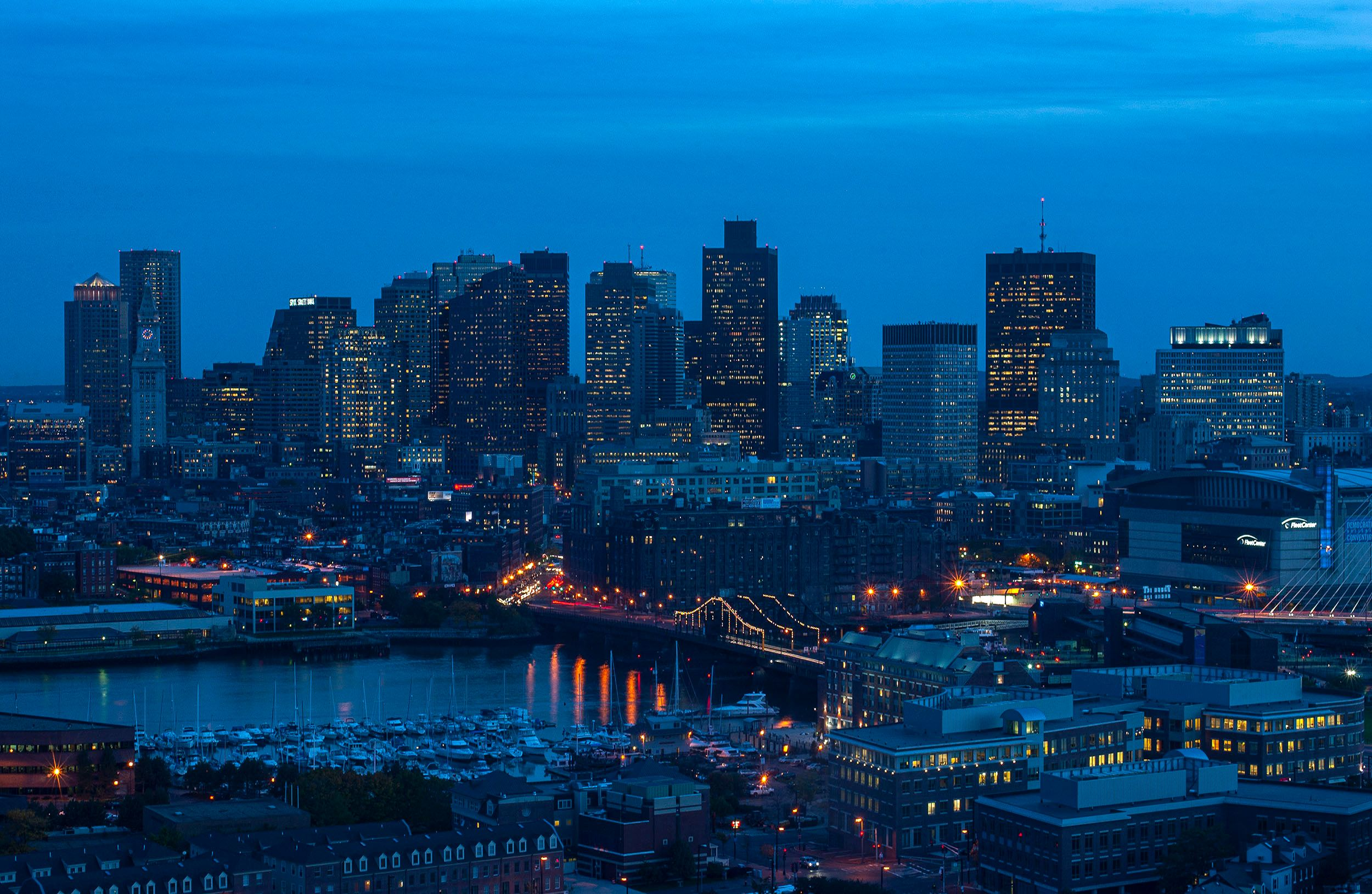 Boston skyline at dusk