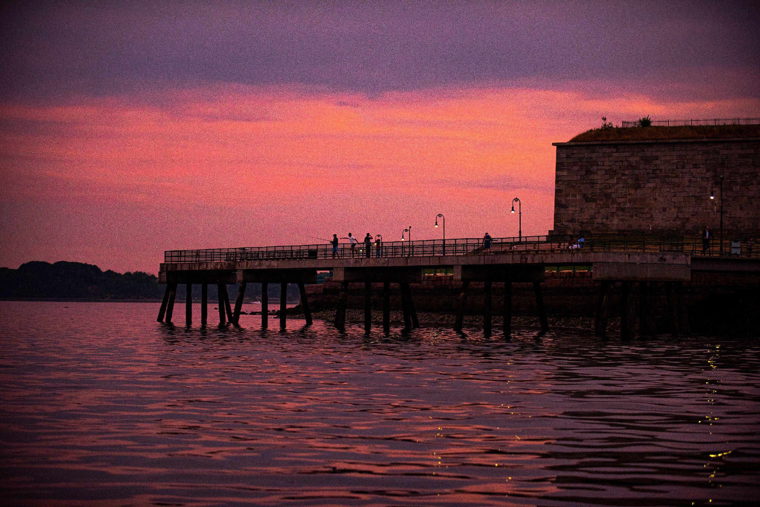 Castle Island at sunset