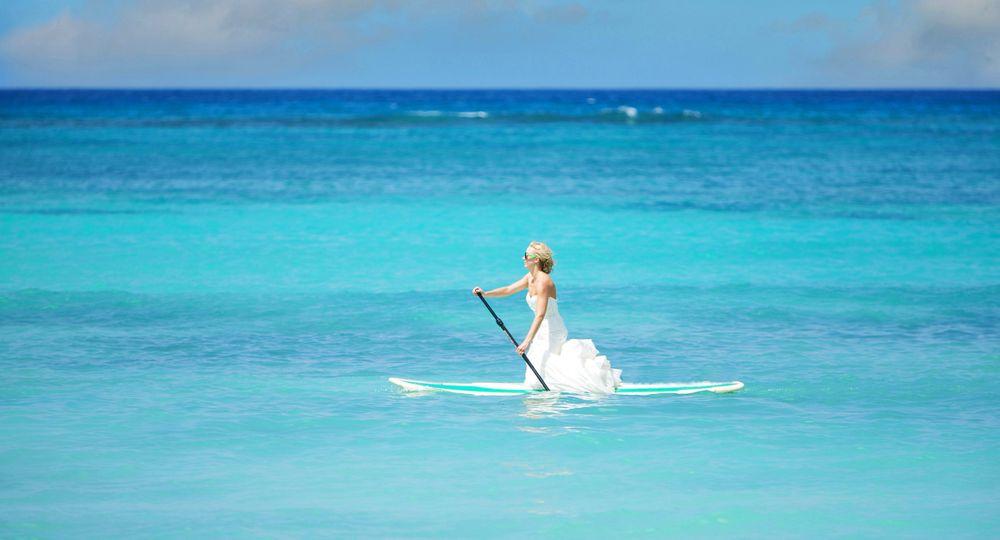 Bride Paddle Boarding