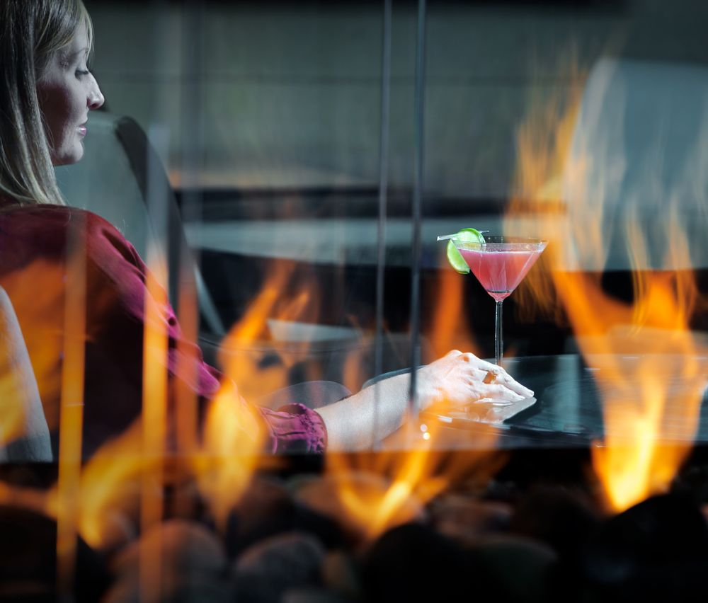 Woman Cocktail Fireplace