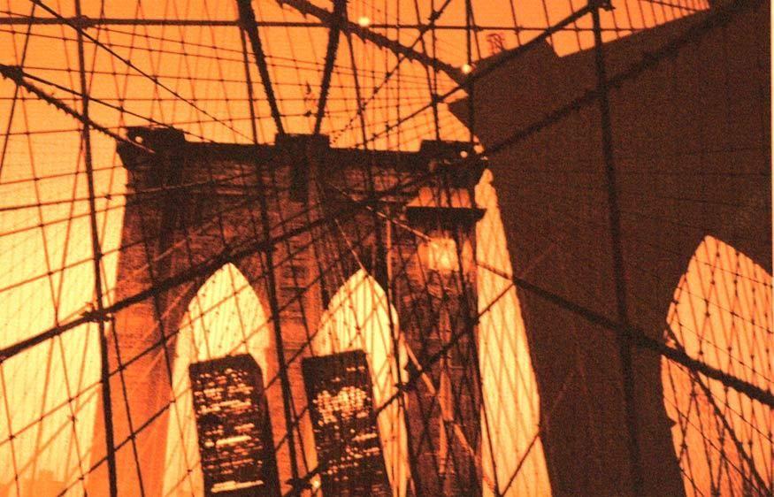 World Trade Center and Brooklyn Bridge at sunset