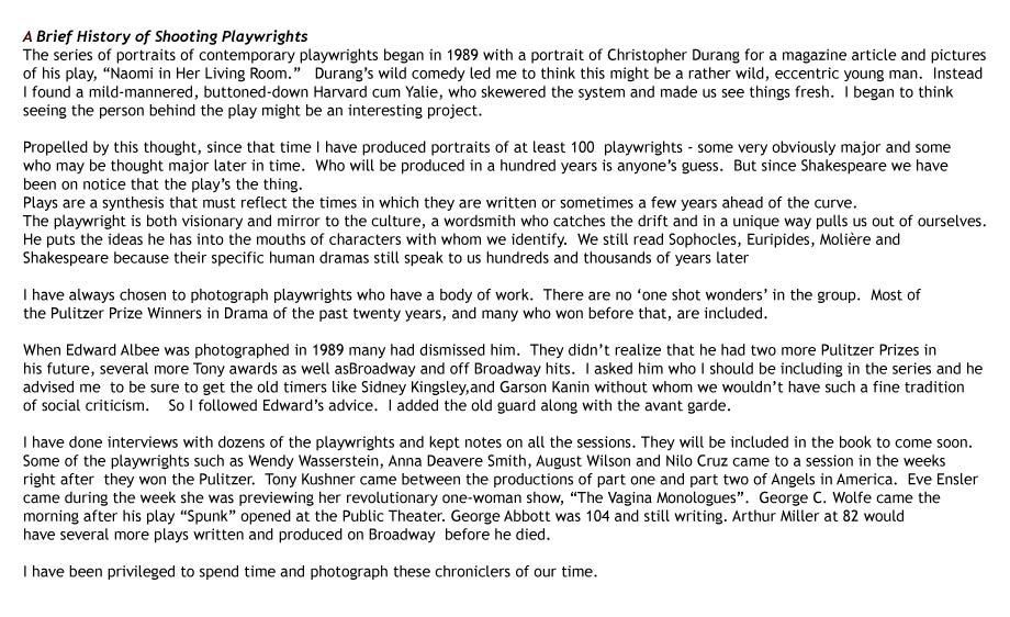 Shooting playwirghts- a 20 year series including 100 major playwrights