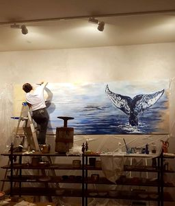 """48x99"""" Whale for Anthropologie"""