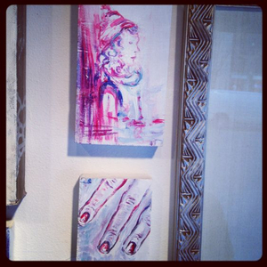 Two of my paintings which hang in the windows on 58th st