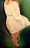 figurative lady on wood