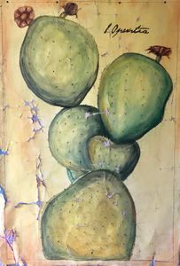 """48"""" x  64"""" cactus painted for Anthropologie"""