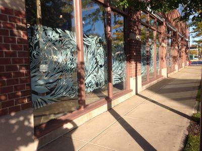 City block of window painting