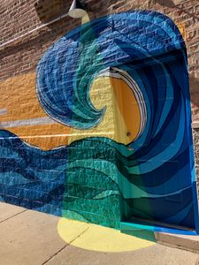 Wave mural in Ukrainian village