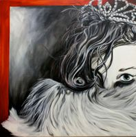 black and white with color on canvas