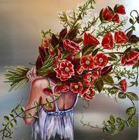 Fleur Sauvage Rouge, 36x36, Oil on aluminum painting, 2019