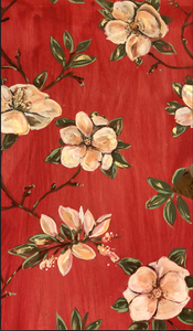 Hand painted magnoila wallpaper