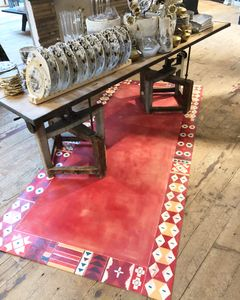 """48""""x120"""" faux rug painted on plywood"""