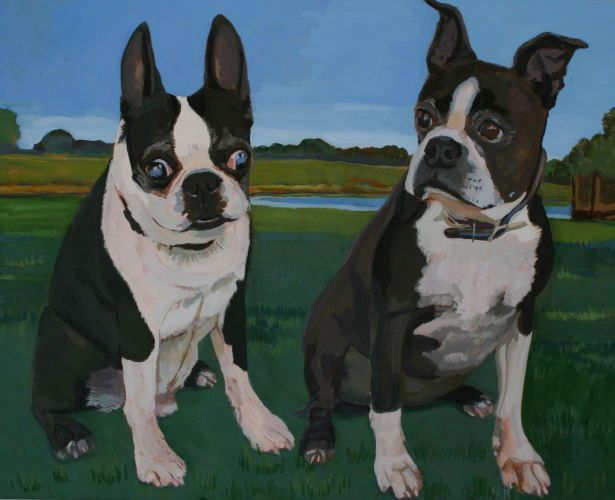 Gouache, 16x20, Cosmo and Punkin, 2007