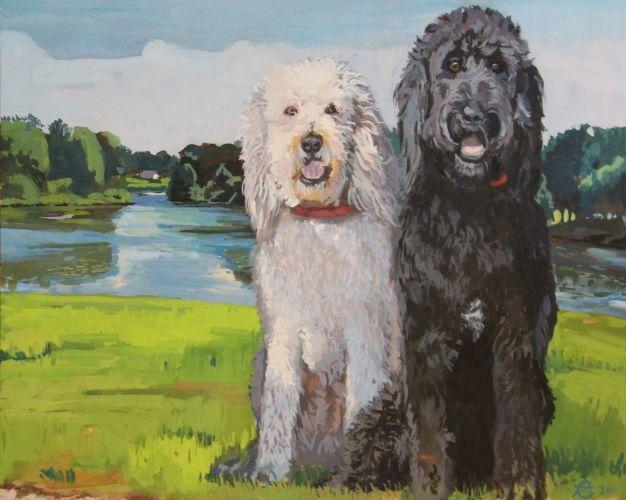Betsy and Otis, 16 x 20, gouache