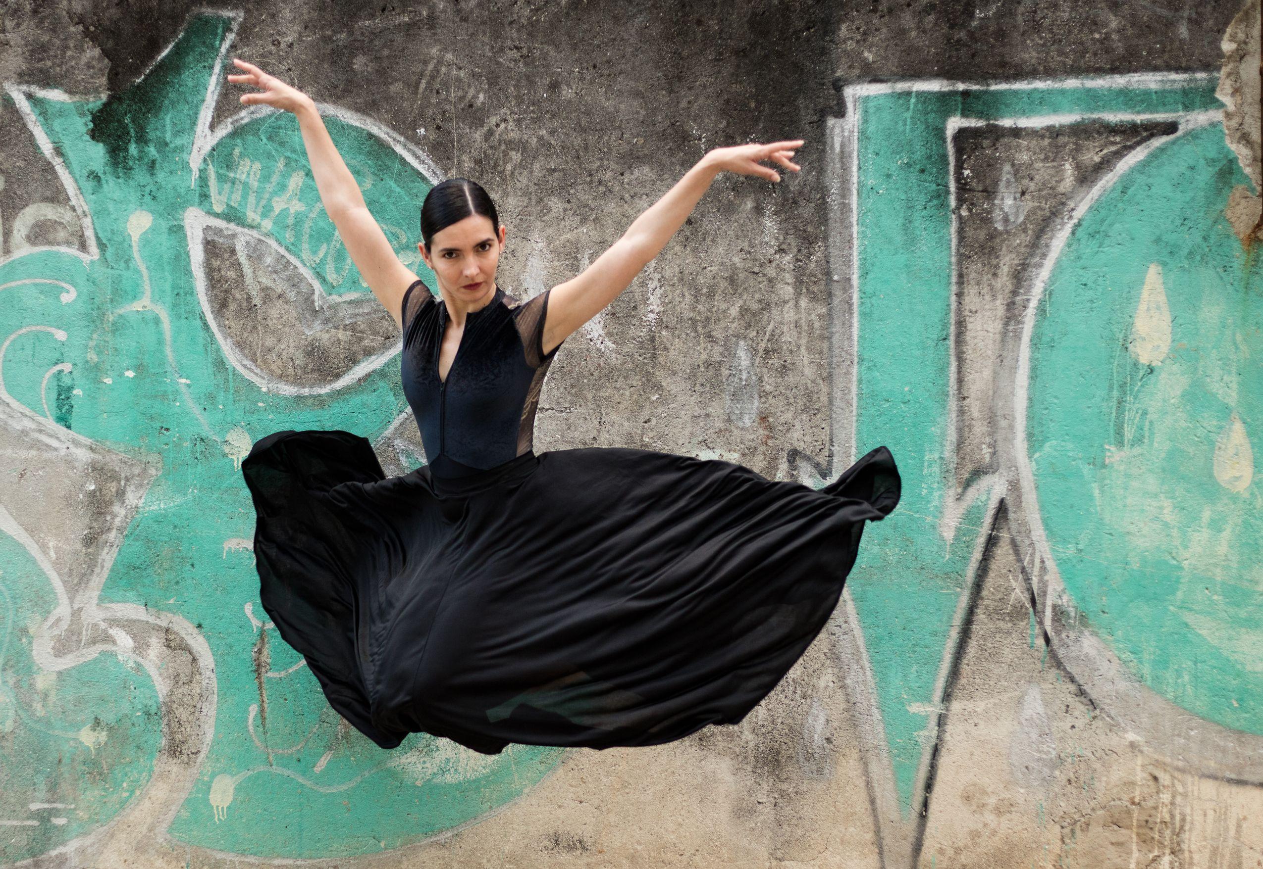 Cuban ballerina in Havana's Chinatown.