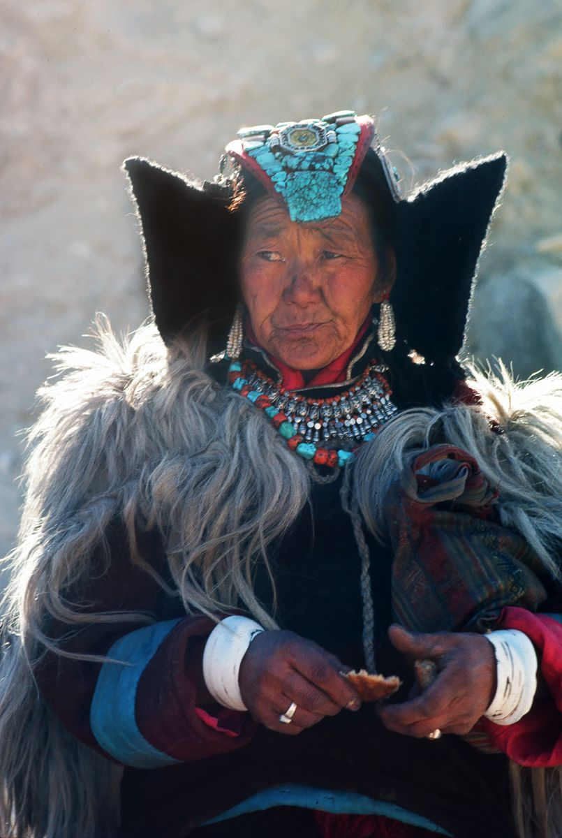 Woman wearing Paryak. Ladakh, India.
