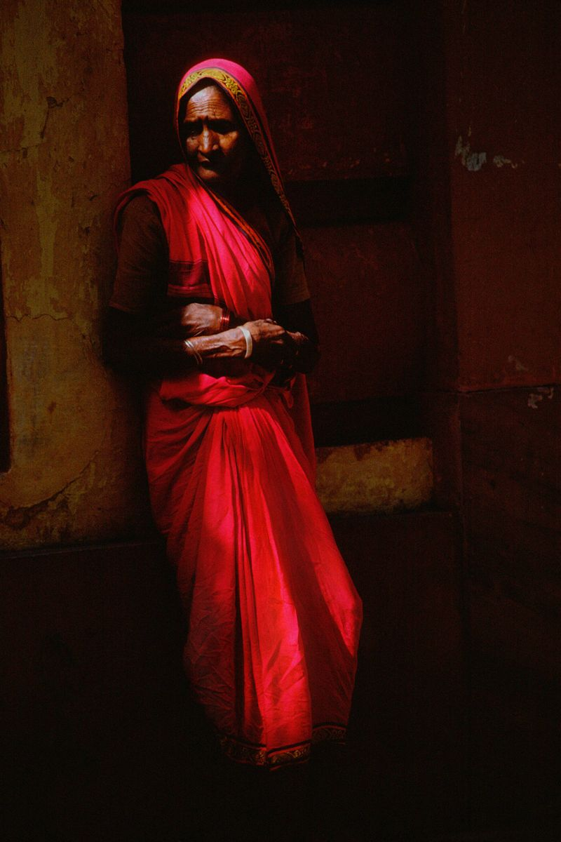 Lady In Red. New Delhi. India.