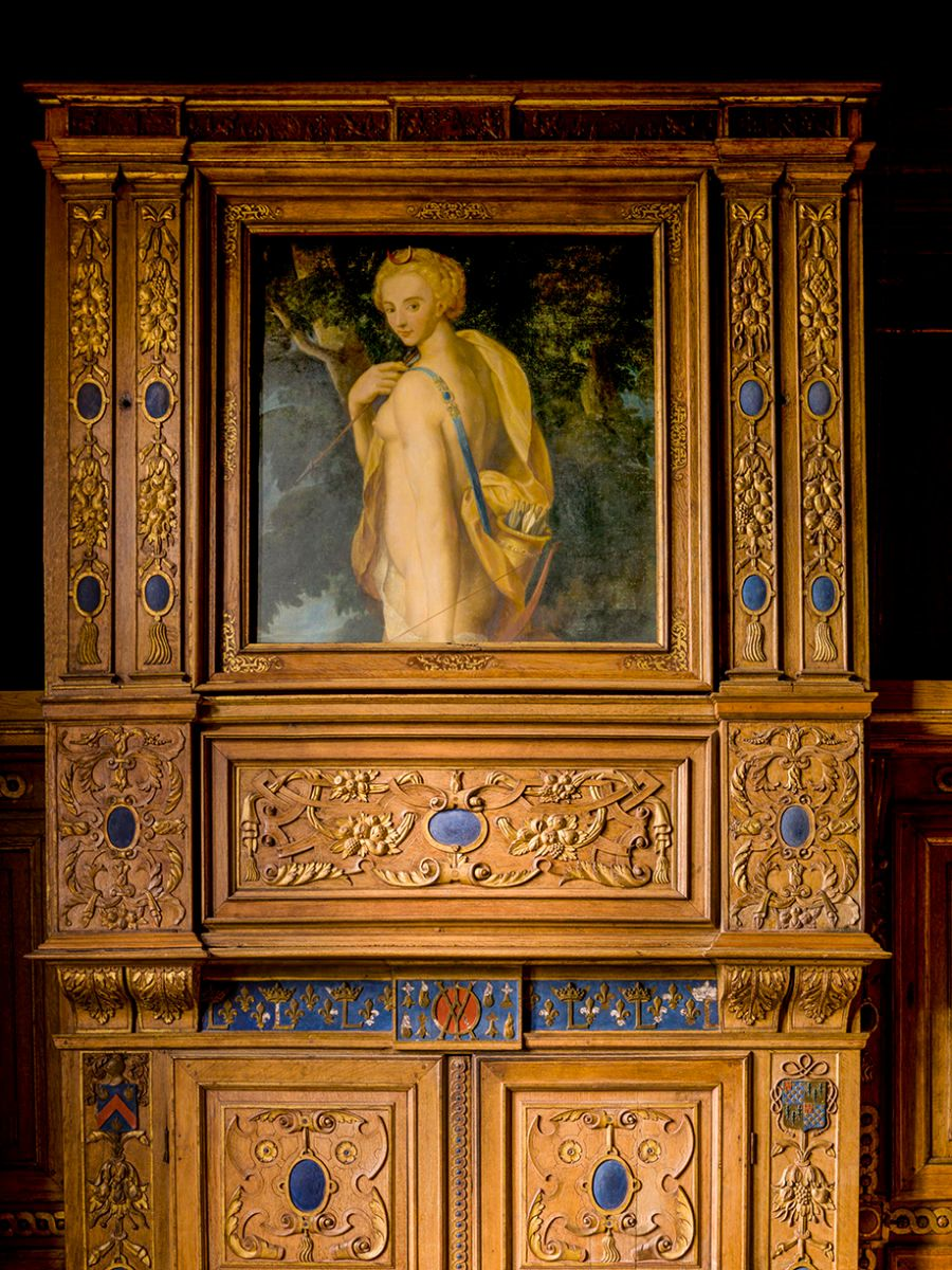 RENAISSANCE CABINET WITH CUPID PAINTING LOIRE VALLEY