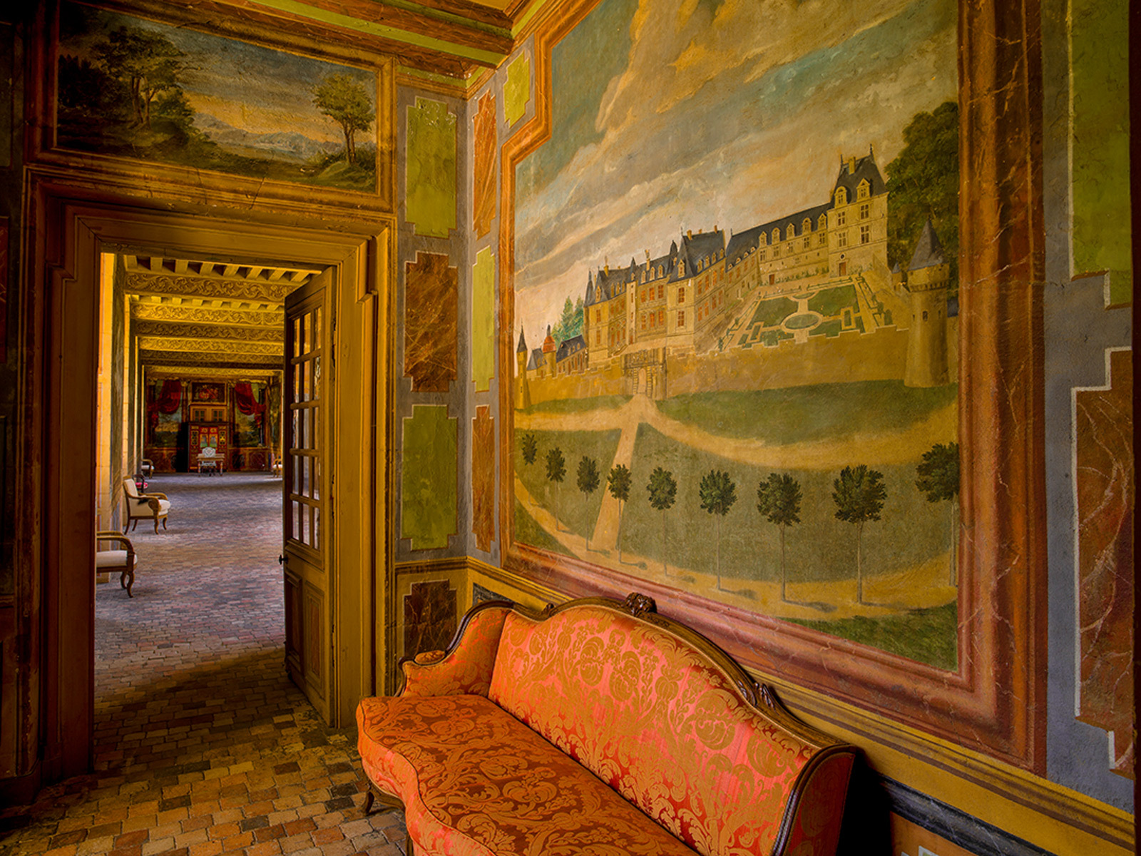 Gizeux, painting of chateau and park on the wall leading into th