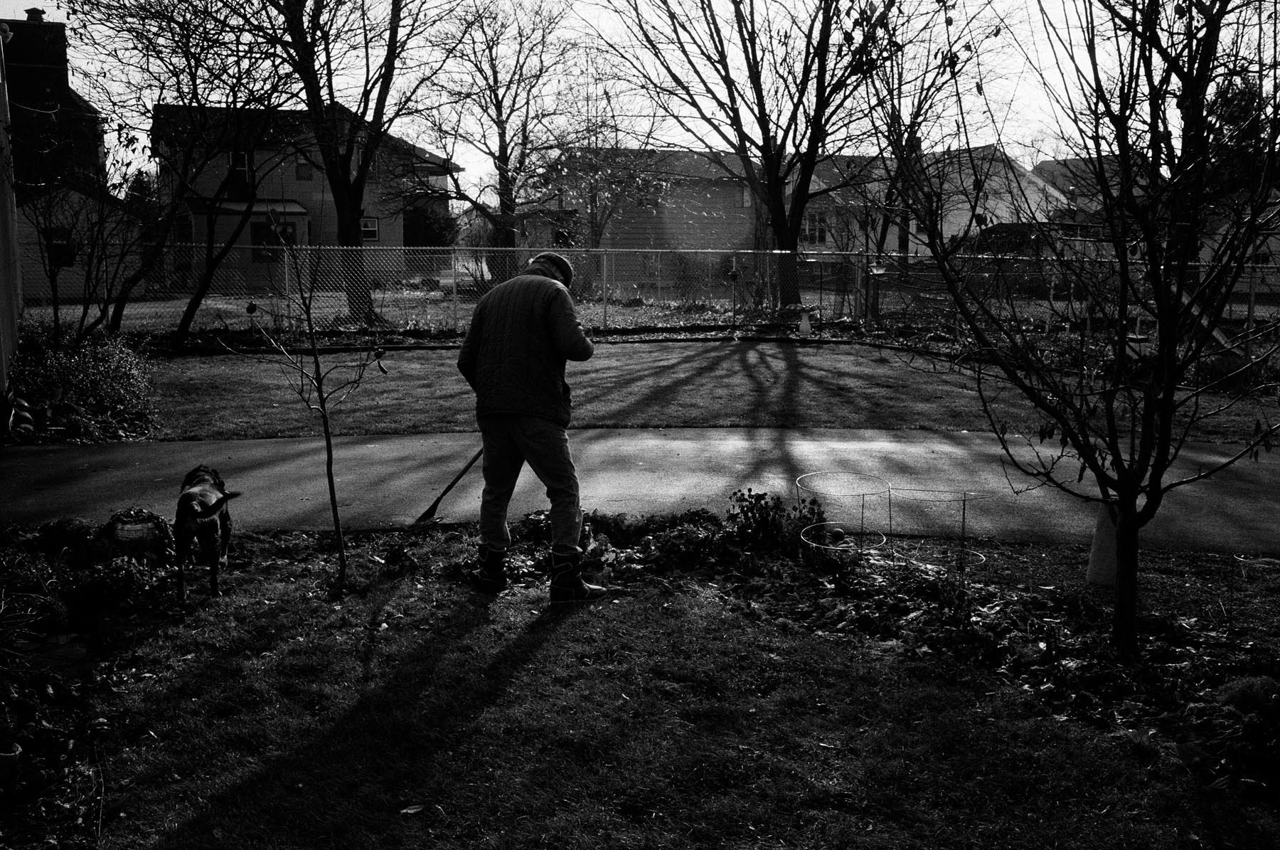Raking Leaves, Oshkosh, WI, 1991
