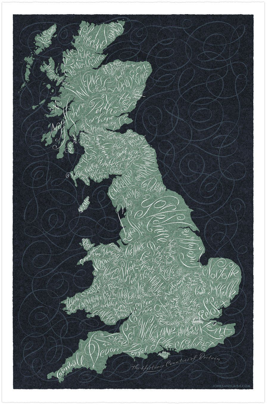 Historic Counties of England Map © James Laish