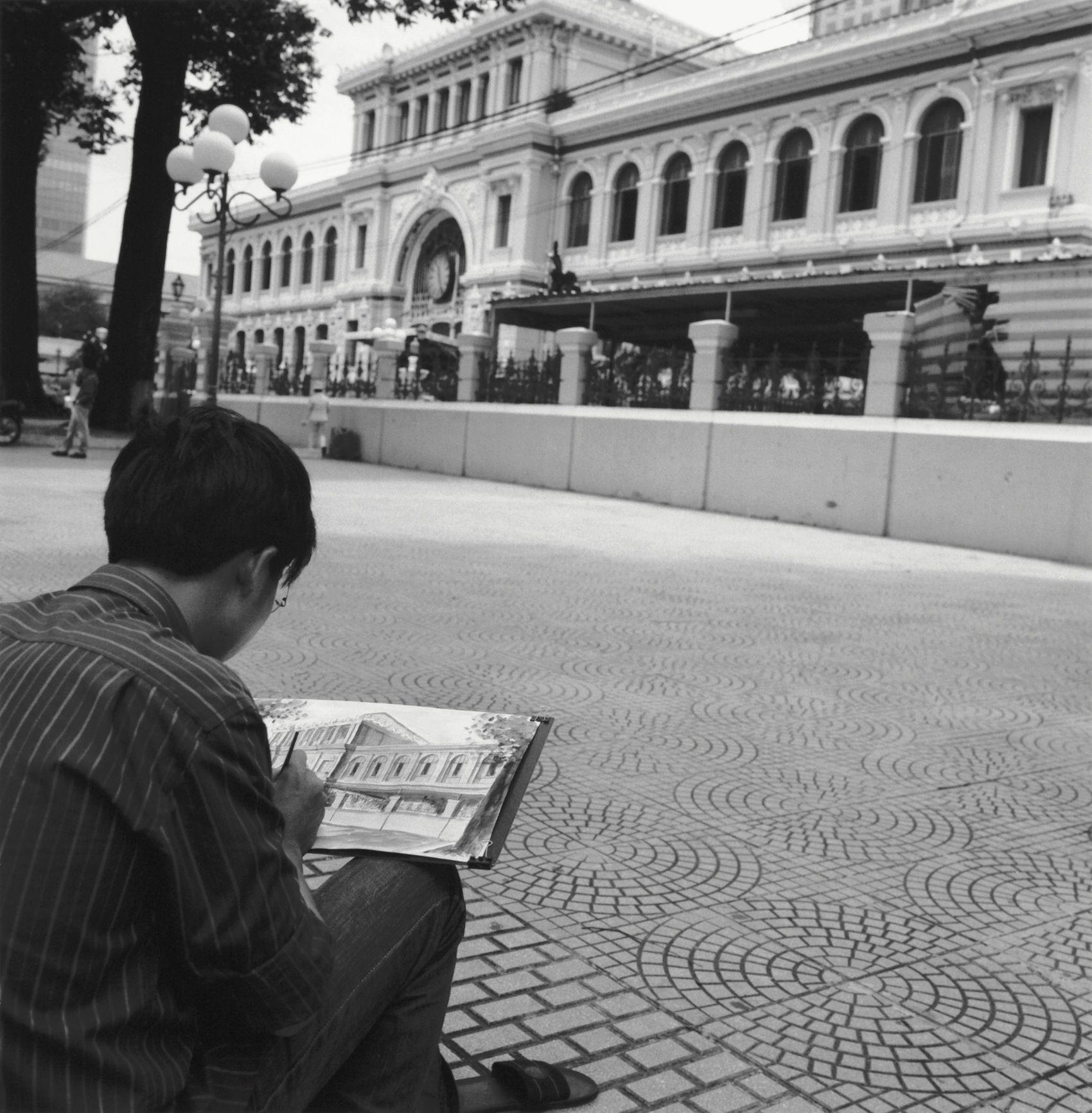 Art Student drawing Post Office, Saigon