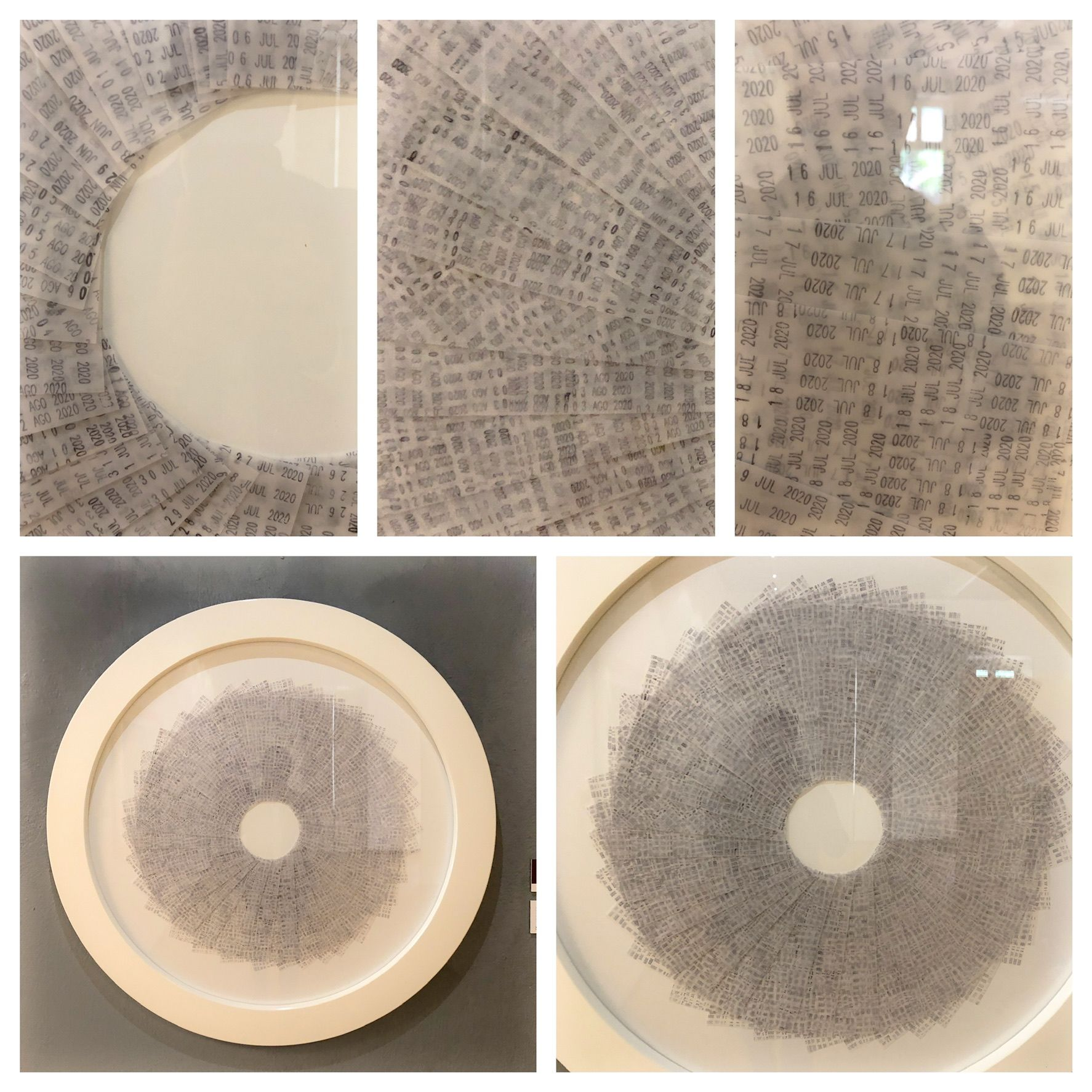 Detail Circular Quarantine 2020, date stamp, inks on paper.
