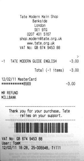 Refund Ticket, Tate Modern Guide English, 2011.