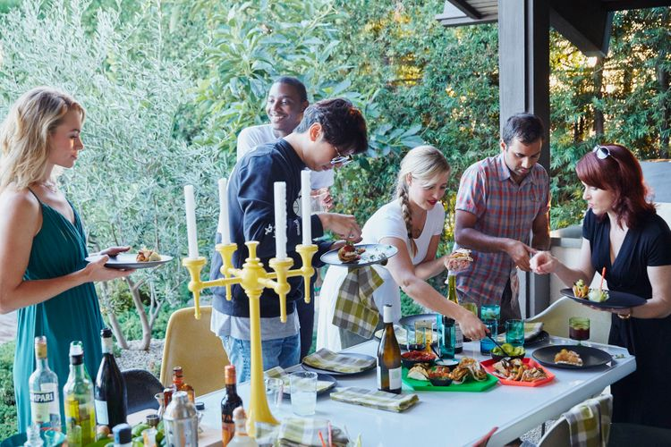 Pool Patio Dinner Party   Courtney McBroom   Aziz Ansari   Leslie Behren   Misty Redding   Jessica Farley   Cody & Tracy Moore   Jerrod Carmichael   David Cho  A141109 Food & Wine Large Marge 2015