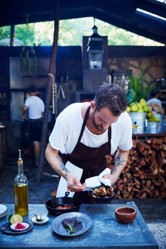 Eric Werner Prepping Pulpo Asado with Roasted Potatoes & Coriander Dressing   Williams-Sonoma Open Kitchen   Hartwood RestaurantTulum Mexico 2016