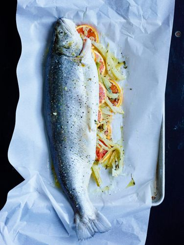 Whole Oven-Baked Trout with Fennel, Lovage and Orange   A160201 Food & Wine   Iceland   May 2016