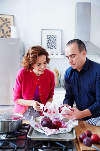 Jean Georges & Dana Cowin Preparing Beet & Ginger Salad Chef Demo A131014 Food & Wine Making My Mistakes Cookbook 2013