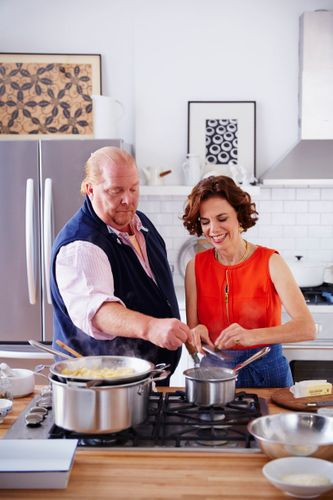 Mario Batali & Dana Cowin Preparing Baked Pasta A131014 Food & Wine Making My Mistakes Cookbook 2013