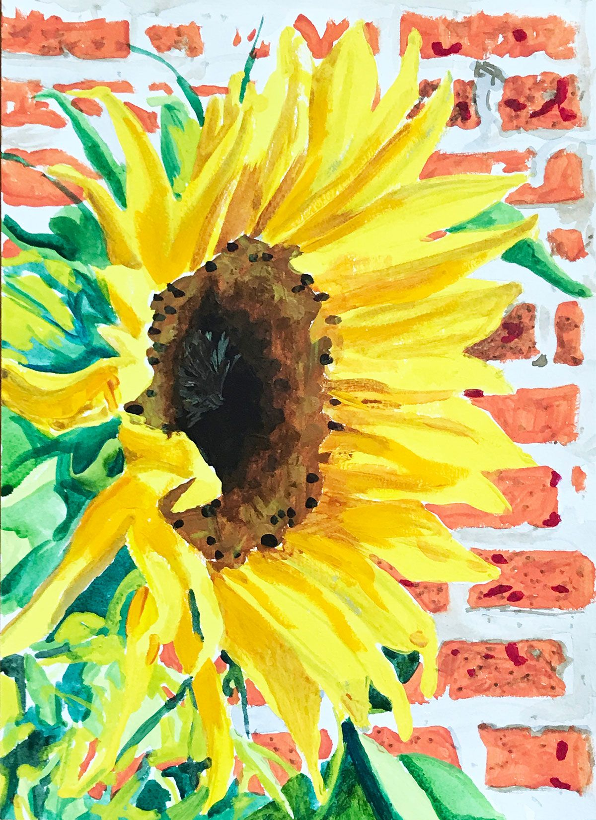 Sunflower Watercolor - Gouache on Paper - Columbus, Ohio