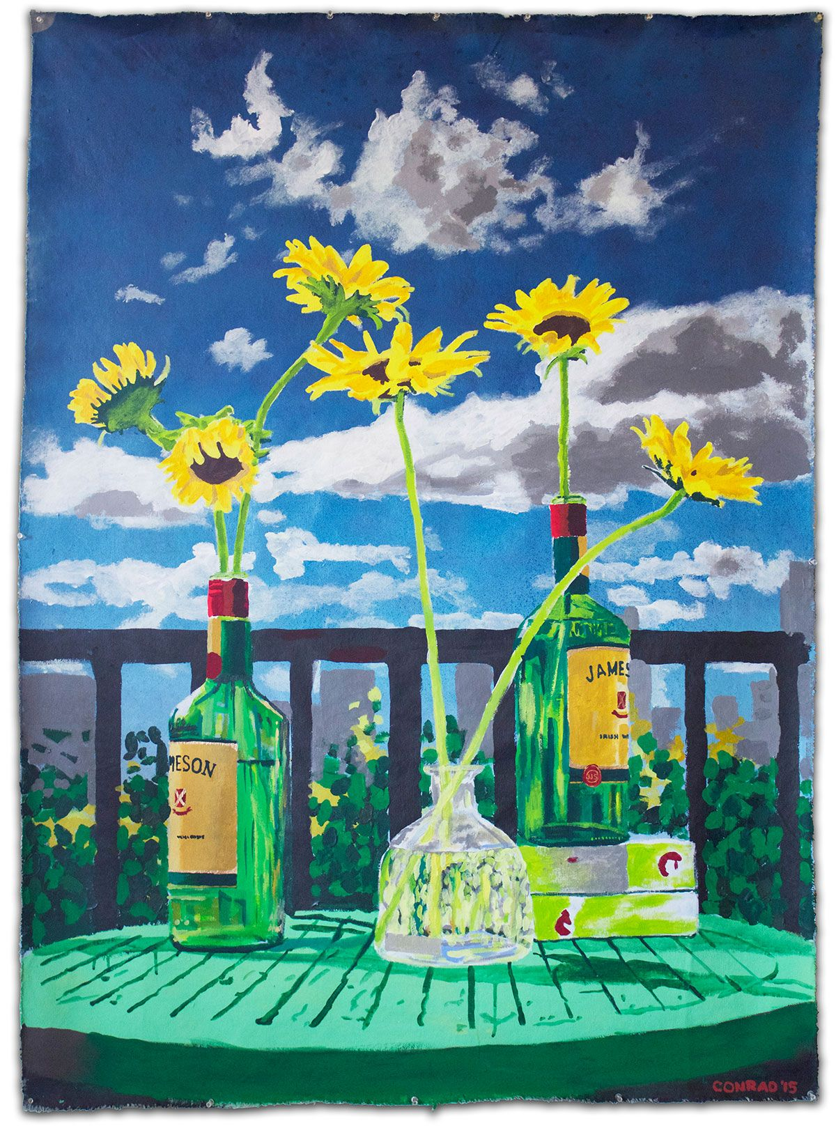 Spray Paint Still Life on Canvas - Sunflowers in Bottles