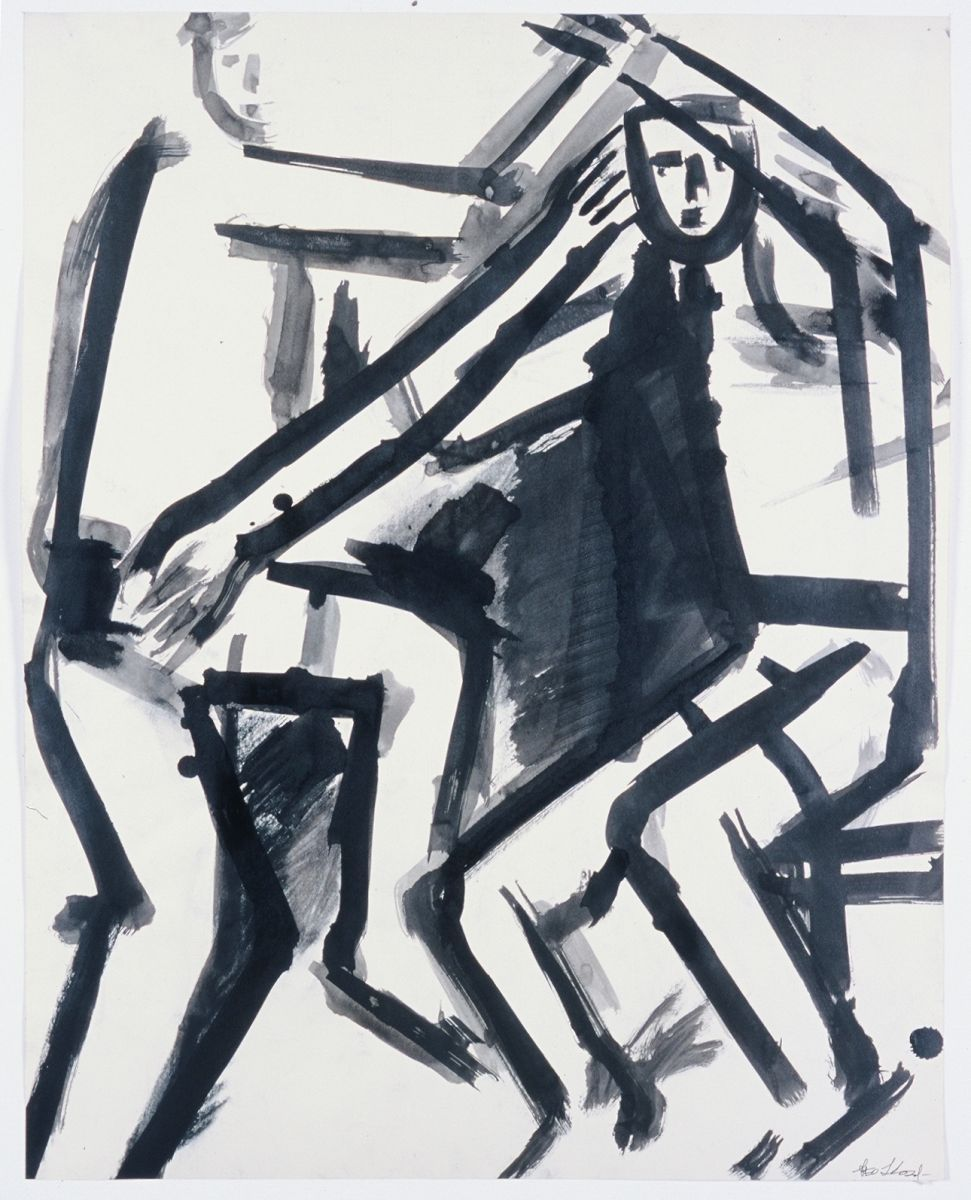 TWO BOYS 1972 Berkeley ink on paper