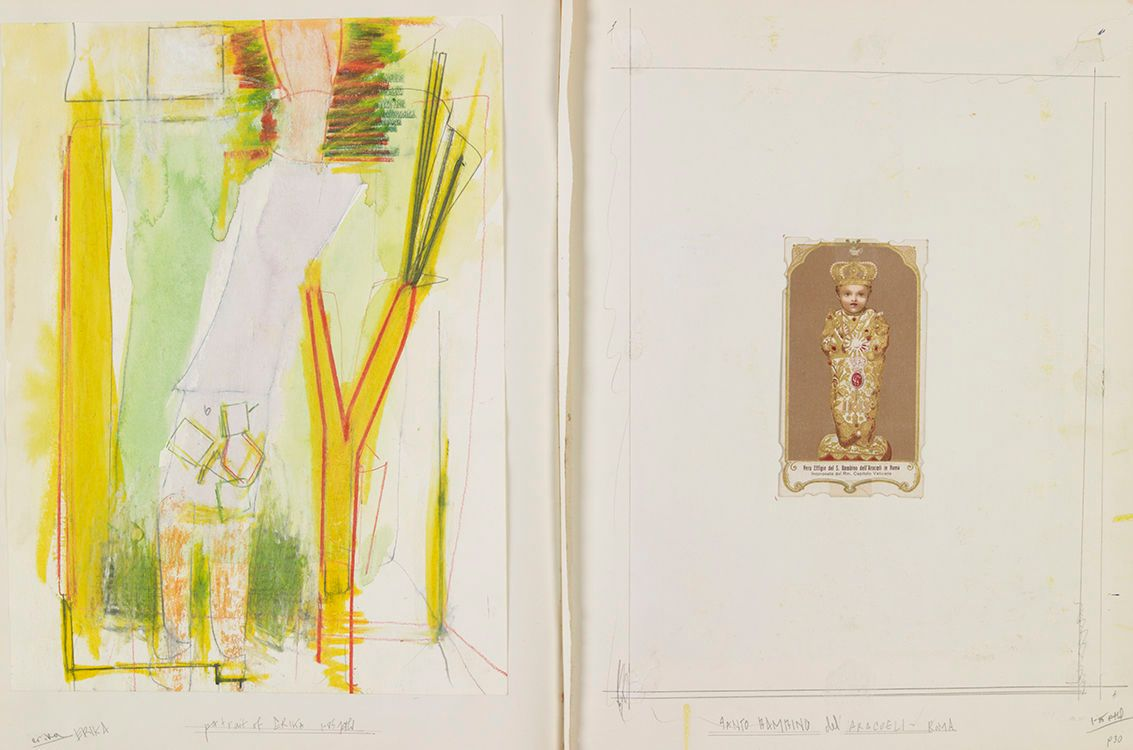 Pages 30 A on left and 30B on right :30A : ERIKA w PLANT STALK , Jan 1985 , Portland 30B : ANTIQUE HOLY CARD w IMAGE of SANTO BAMBINO