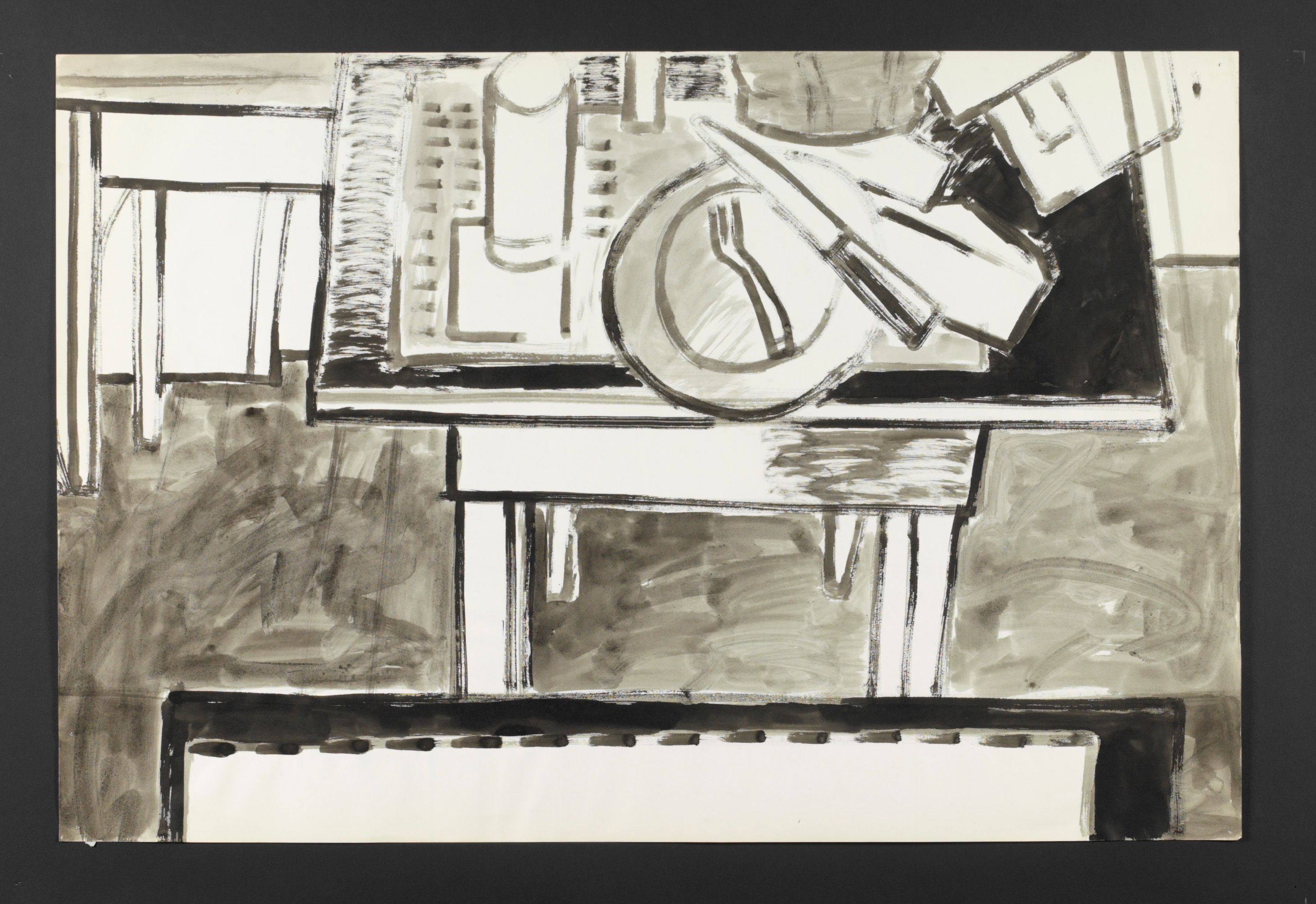 "STUDIO INTERIOR w DRAWING and DINING TABLES                    1973 Berkeley , 24 x 36"" , ink on paper"