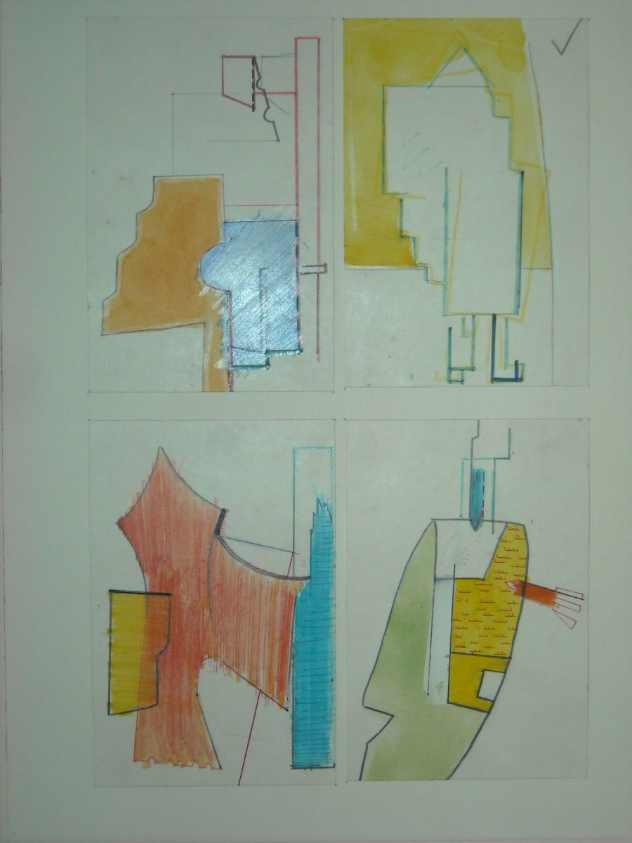 MASQUERADE  :  a  Suite of 4 Drawings   on 3 x 5 cards    1977 Berkeley