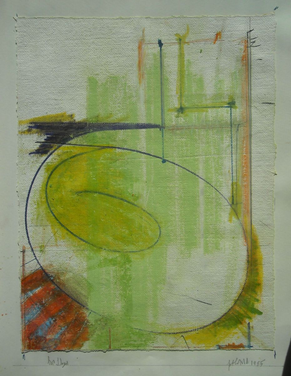 Page 31 :   SPIRAL IMAGE   1985 Portland pastel and crayon on handmade paper affixed to sketchbook page