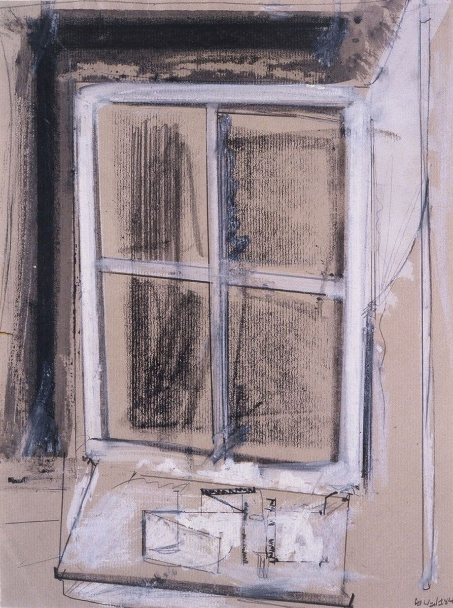 "WINDOW and WORKTABLE  , summer 1984    Ithaca NY   12 x 9""    ,  casein etc on grey toned laid paper"