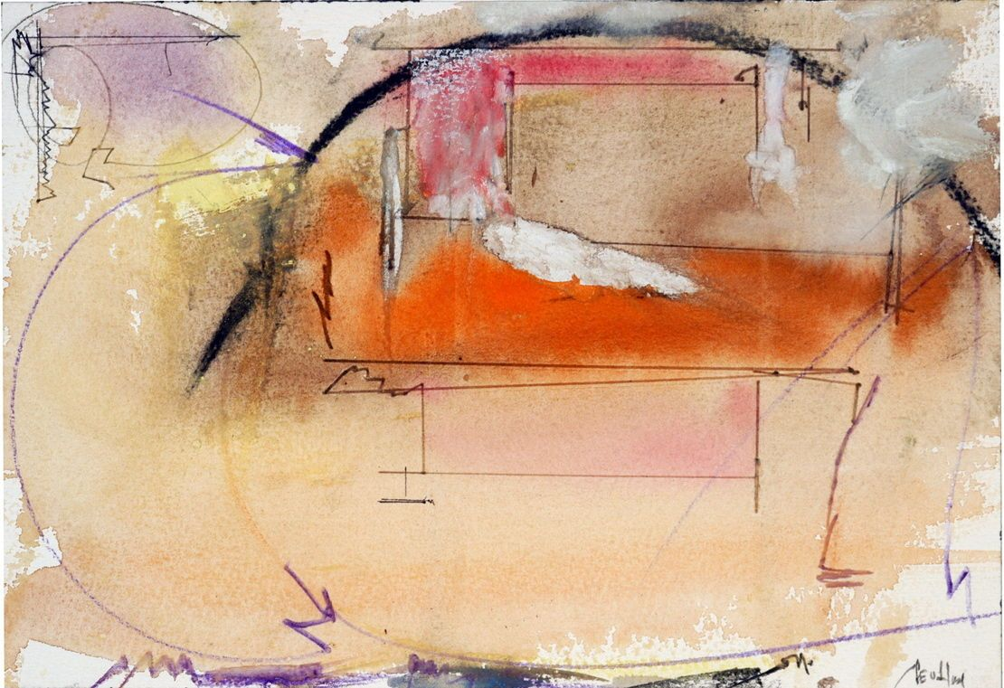 "Composition w PNEUMATIC FIGURE   2004 7 x 10""   , watercolor  on Arches"