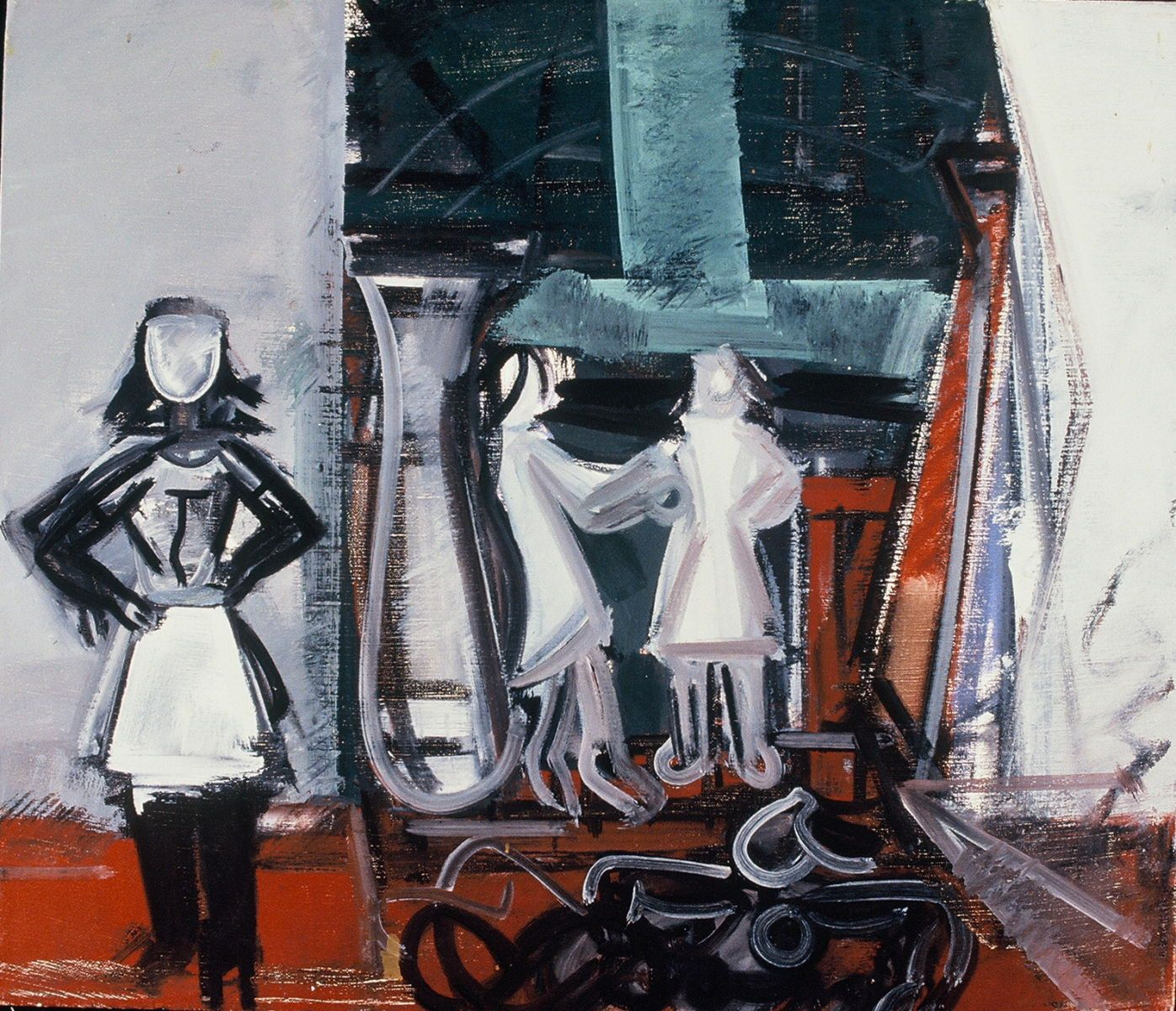 "INTERIOR with  4 GIRLS - after JSS  1971 , Berkeley24 x 28"" , oil on canvas"