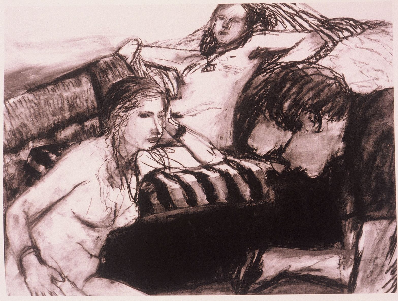 GEORGE LLOYD w Two FIGURE MODELS , a drawing  by Elmer BISCHOFF