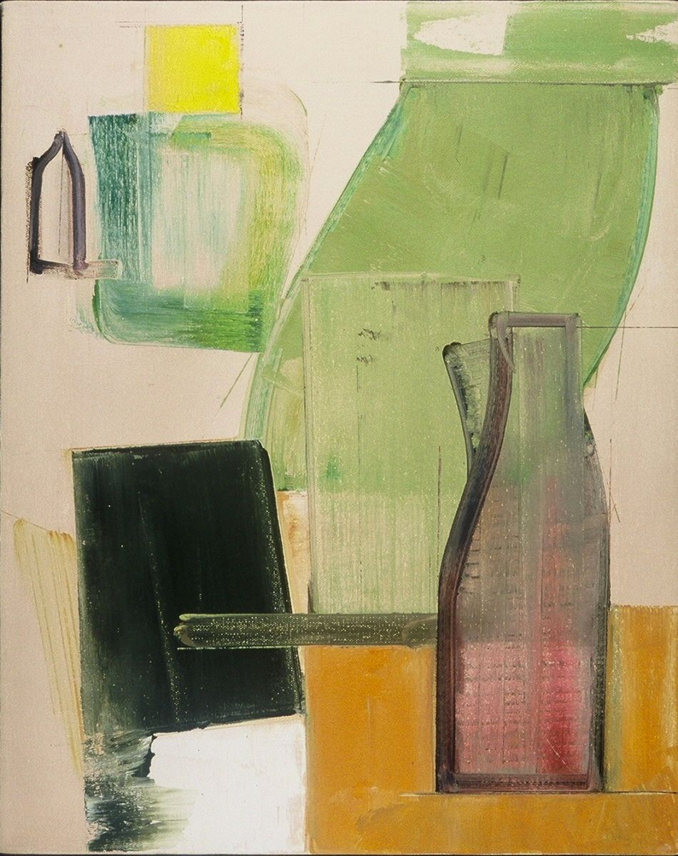 "Composition w MILK BOTTLE   1981 Middletown CT20 x 16"" , oil on canvas"