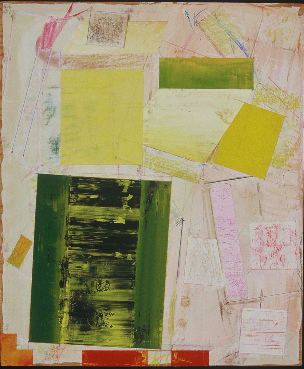 "Composition w ROCKING PORTAL   1982   SanFrancisco   24 x 20""    , acrylic etc on muslin [ old bedsheet]   affixed to plywood panel"