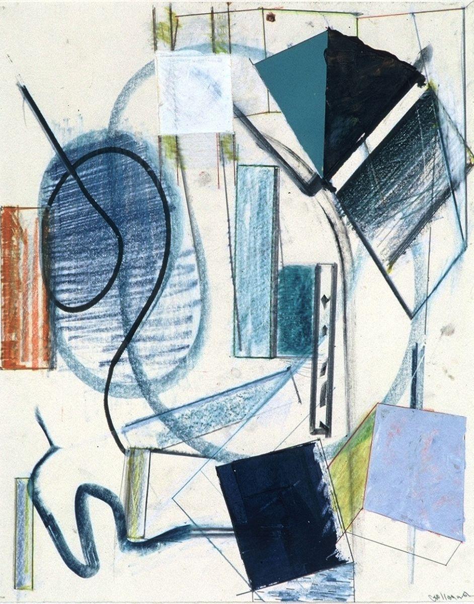 """BLUE VORTEX  1981  20 x 16""""    ,    var media on paper"""
