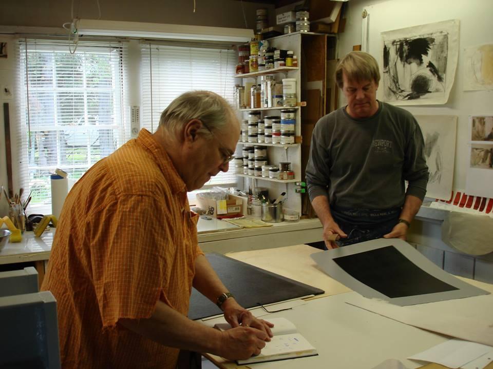 George LLOYD and Tim HIGBEE at work in atelier HOPE EDITIONS , Hope ME , in June 2013